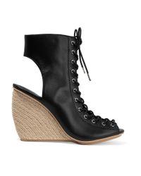 Rebecca Minkoff Black Elle Lace-up Leather Espadrille Wedge Sandals