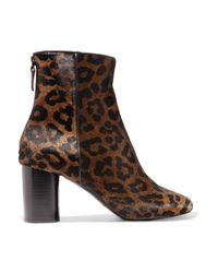 Sandro Brown Leopard-print Calf Hair Ankle Boots