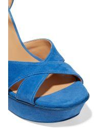 Halston - Blue Naomi Suede Platform Sandals - Lyst