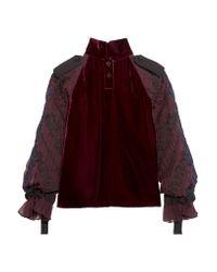 Sacai Purple Velvet And Embroidered Chiffon Top