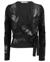 Diane von Furstenberg | Black Studded Wool-blend Wrap Cardigan | Lyst
