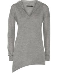 Donna Karan - Gray Asymmetric Cashmere Hooded Sweater - Lyst