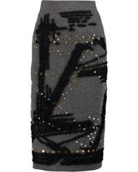 Donna Karan Gray Embellished Scuba-jersey Midi Skirt