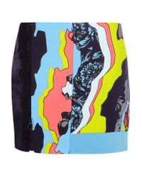 Versace Blue Printed Paneled Satin And Silk-jacquard Mini Skirt