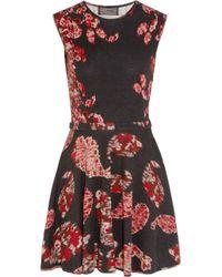 Giambattista Valli Black Intarsia Wool And Cashmere-blend Mini Dress