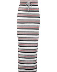 T By Alexander Wang | Multicolor Striped Ribbed Merino Wool Maxi Skirt | Lyst