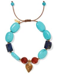 Chan Luu - Blue Corded Gold-tone, Bead And Stone Bracelet - Lyst