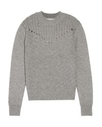 Rebecca Minkoff Gray Durand Stud-embellished Wool And Cashmere-blend Sweater
