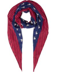 Marc By Marc Jacobs Blue Printed Cotton And Silk-blend Scarf