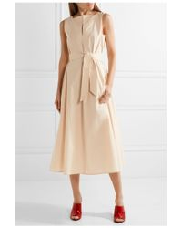 Lemaire Natural Belted Cotton-poplin Midi Dress