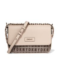 DKNY Natural Paneled Textured-leather And Jacquard Shoulder Bag