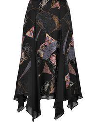 Elizabeth and James - - Reza Asymmetric Printed Silk-chiffon Skirt - Black - Lyst