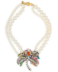 Shourouk - Metallic Gold-tone, Faux Pearl And Crystal Necklace - Lyst