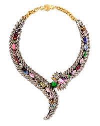 Shourouk | Metallic Piuma Gold-tone Crystal Necklace | Lyst
