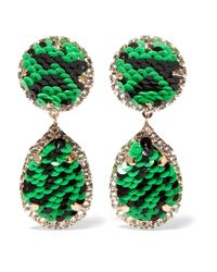 Shourouk | Green Gold-tone, Crystal And Sequin Clip Earrings | Lyst