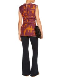 Isabel Marant Red Kyla Printed Cotton-canvas Top
