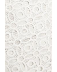 Self-Portrait - White Wight Night Paneled Crocheted Lace And Point D'esprit Mini Dress - Lyst
