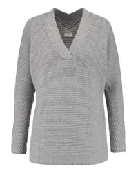 Vince | Gray Ribbed Wool And Cashmere-blend Sweater | Lyst