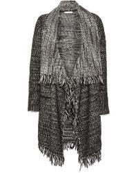 VINCE | Black Leather-trimmed Fringed Wool-blend Cardigan | Lyst