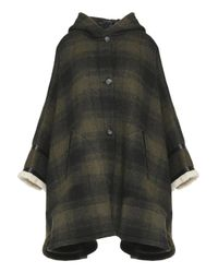 MM6 by Maison Martin Margiela Faux Shearling-trimmed Checked Wool-blend Hooded Poncho Army Green