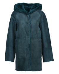 DROMe | Blue Reversible Shearling Hooded Coat | Lyst