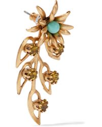 Elizabeth Cole - Metallic Gold-tone Crystal And Stone Earrings - Lyst
