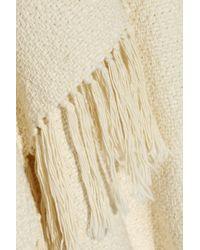 Apiece Apart White Fringed Woven Cotton Poncho