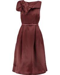 Raoul | Red Rosette-embellished Silk-taffeta Midi Dress | Lyst