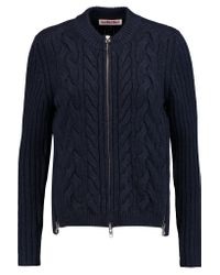See By Chloé Blue Zip-detailed Cable-knit Wool-blend Jacket