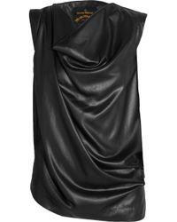 Vivienne Westwood Anglomania - Black Chase Draped Satin Top - Lyst