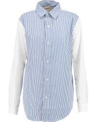 Current/Elliott Blue The Clean Prep School Paneled Cotton Shirt