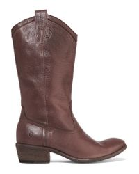 Frye | Brown Carson Textured-leather Boots | Lyst