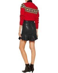 Isabel Marant Black Bray Ruffled Leather Mini Skirt