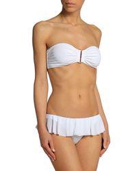 Norma Kamali White Ruffled Low-rise Bikini Briefs