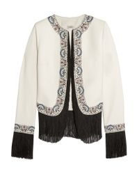 Talitha Multicolor Joey Embroidered Fringed Silk-twill Jacket