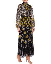 Giambattista Valli - Multicolor Printed Silk-chiffon And Embroidered Tulle Dress - Lyst