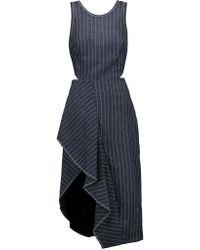 3.1 Phillip Lim | Blue Asymmetric Pinstriped Linen Midi Dress | Lyst