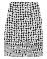 Oscar de la Renta White Appliquéd Tweed And Organza Skirt