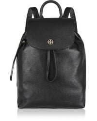 Tory Burch Black Brody Textured-leather Backpack