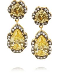 Kenneth Jay Lane | Metallic Rhodium-plated Cubic Zirconia Drop Earrings | Lyst