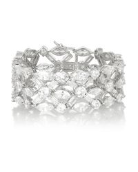 Kenneth Jay Lane | Metallic Silver-plated Cubic Zirconia Bracelet | Lyst