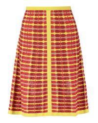 M Missoni Red Jacquard-knit Mini Skirt