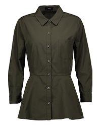 Theory | Green Eyodis Cotton Peplum Shirt | Lyst