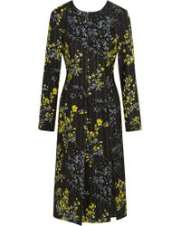 Marni | Black Floral-print Wool And Silk-blend Dress | Lyst