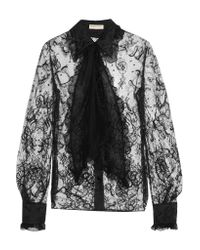 Emilio Pucci Black Pussy-bow Embellished Corded Lace Shirt