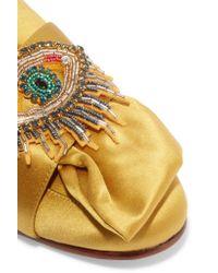 Sam Edelman | Metallic Peters Embellished Satin Slippers | Lyst