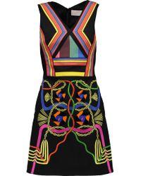 Peter Pilotto | Black Hendrix Embellished Crepe De Chine And Cotton-canvas Mini Dress | Lyst