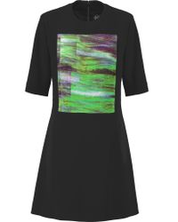 McQ Black Appliquéd Crepe Mini Dress
