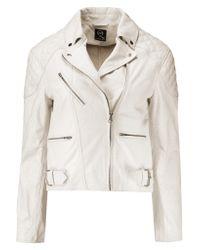 McQ White Coated Cracked-leather Biker Jacket