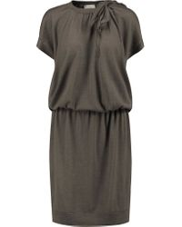 Brunello Cucinelli Multicolor Embellished Cashmere And Silk-blend Dress